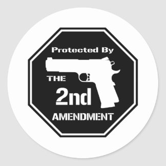Protected By The Second Amendment (Black).png Classic Round Sticker