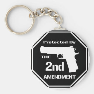 Protected By The Second Amendment (Black).png Keychain