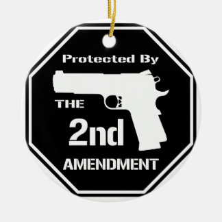 Protected By The Second Amendment (Black).png Ornaments