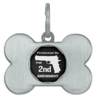 Protected By The Second Amendment (Black).png Pet Name Tag