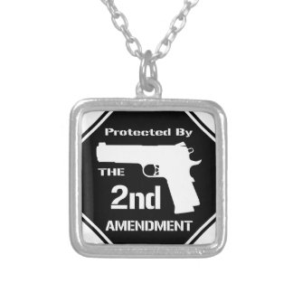Protected By The Second Amendment (Black).png Silver Plated Necklace