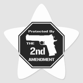 Protected By The Second Amendment (Black) Star Sticker