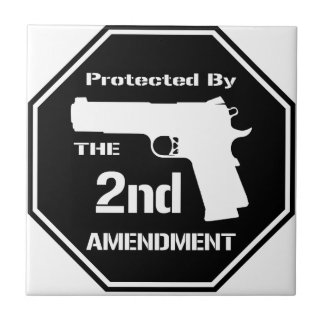 Protected By The Second Amendment (Black) Tile