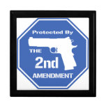 Protected By The Second Amendment (Blue) Trinket Boxes