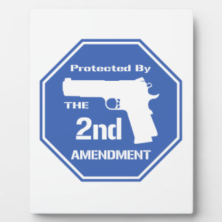 Protected By The Second Amendment (Blue) Plaque