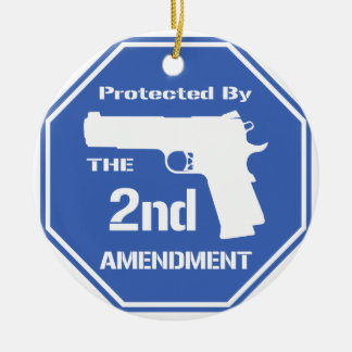 Protected By The Second Amendment (Blue).png Ceramic Ornament