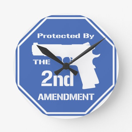 Protected By The Second Amendment (Blue).png Round Wall Clocks