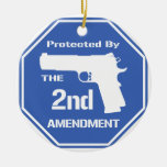 Protected By The Second Amendment (Blue).png Christmas Tree Ornaments