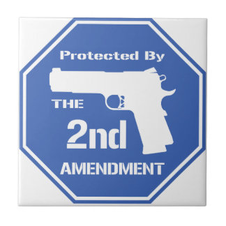 Protected By The Second Amendment (Blue) Tiles