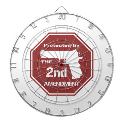 Protected By The Second Amendment (Red)Dart Board