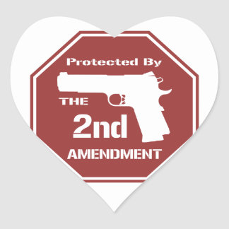 Protected By The Second Amendment (Red) Heart Sticker