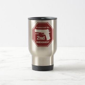 Protected By The Second Amendment (Red) 15 Oz Stainless Steel Travel Mug