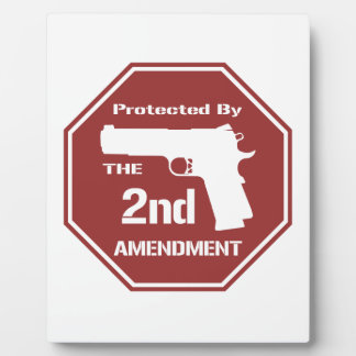 Protected By The Second Amendment (Red) Photo Plaque