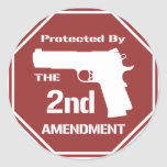 Protected By The Second Amendment (Red).png Classic Round Sticker