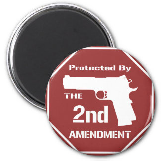 Protected By The Second Amendment (Red).png Magnets