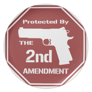 Protected By The Second Amendment (Red).png Melamine Plate