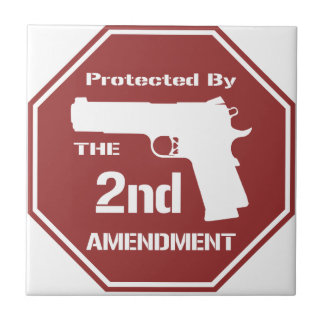 Protected By The Second Amendment (Red).png Ceramic Tile