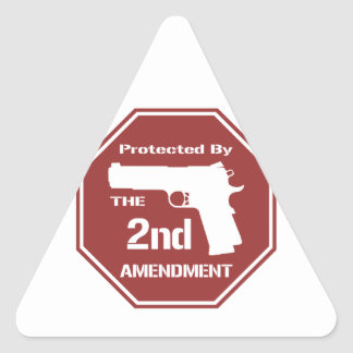 Protected By The Second Amendment (Red) Triangle Sticker