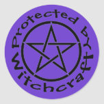 Protected by Witchcraft Pentacle Stickers Labels