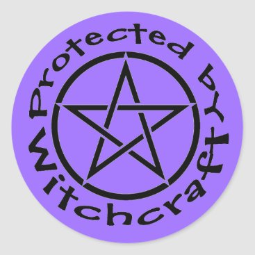 Halloween Themed Protected by Witchcraft Pentacle Stickers Labels