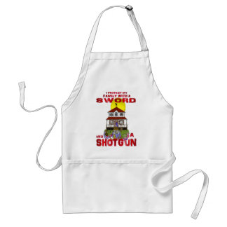 Protecting my Family from Zombies Adult Apron