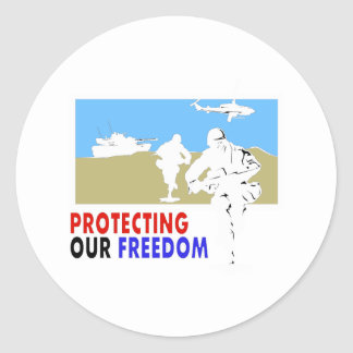 Protecting our freedom classic round sticker