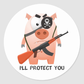 Protecting pig classic round sticker