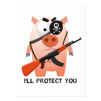 Protecting pig postcard