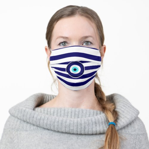 Protection from Evil Eye Greek flag stripes Cloth Face Mask