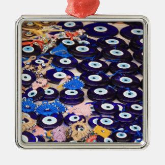 Protection From The Evil Eye - Boncuk Square Metal Christmas Ornament
