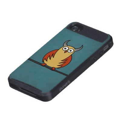 Protective Funny Cartoon Horned Owl Case For iPhone 4