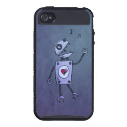 Protective Geek Grunge Happy Singing Robot Cases For iPhone 4