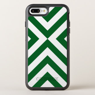 Protective Geometric Green and White Chevrons OtterBox Symmetry iPhone 7 Plus Case
