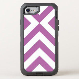 Protective Geometric Lavender and White Chevrons OtterBox Defender iPhone 7 Case