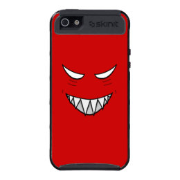Protective Grinning Face With Evil Eyes Red iPhone 5 Covers