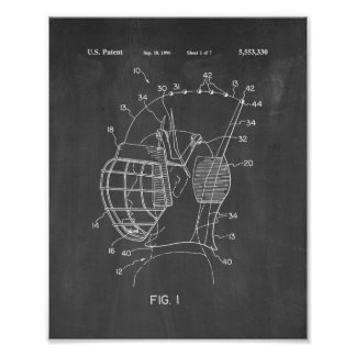 Protective Hockey Helmet Patent - Chalkboard Poster