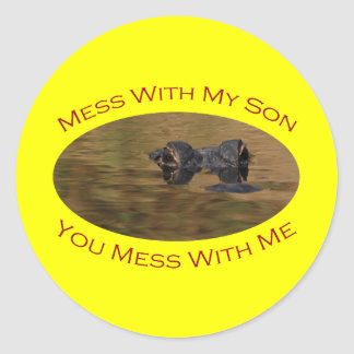Protective Parent With Son Classic Round Sticker