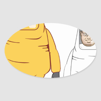 Protective Suit Illustration Oval Sticker