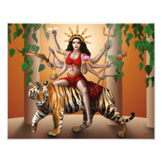 "Protector Goddess Durga Print, 14"" x 11"" Art Photo"