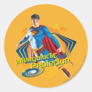 Protector intergaláctico del superhombre pegatina redonda