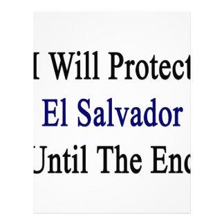 Protegeré El Salvador hasta el extremo Membrete