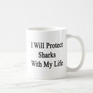 Protegeré tiburones con mi vida tazas de café