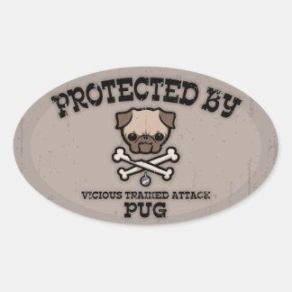 Protegido por el barro amasado calcomanías de ovales