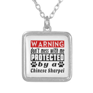 Protegido por el chino Sharpei Colgante Cuadrado
