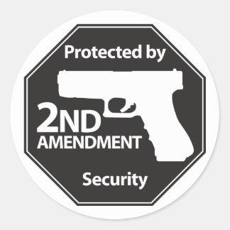 Protegido por la 2da enmienda pegatina redonda