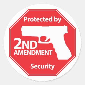 Protegido por la 2da enmienda - rojo pegatina redonda
