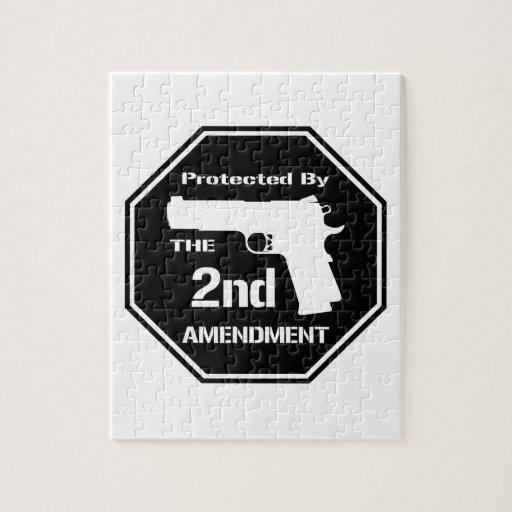 Protegido por la segunda enmienda (negro) puzzle con fotos