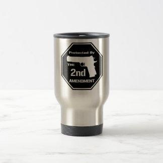 Protegido por la segunda enmienda (negro) taza de viaje de acero inoxidable
