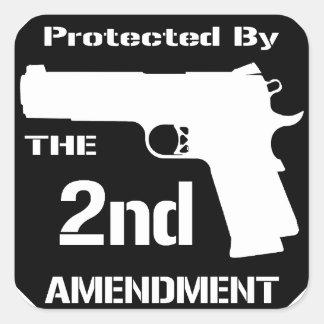 Protegido por la segunda enmienda .png (negro) pegatina cuadrada