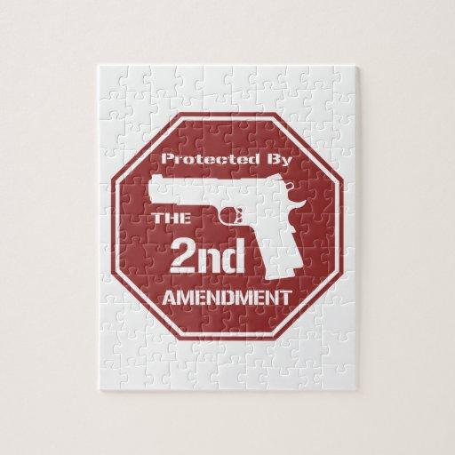Protegido por la segunda enmienda (roja) puzzles con fotos